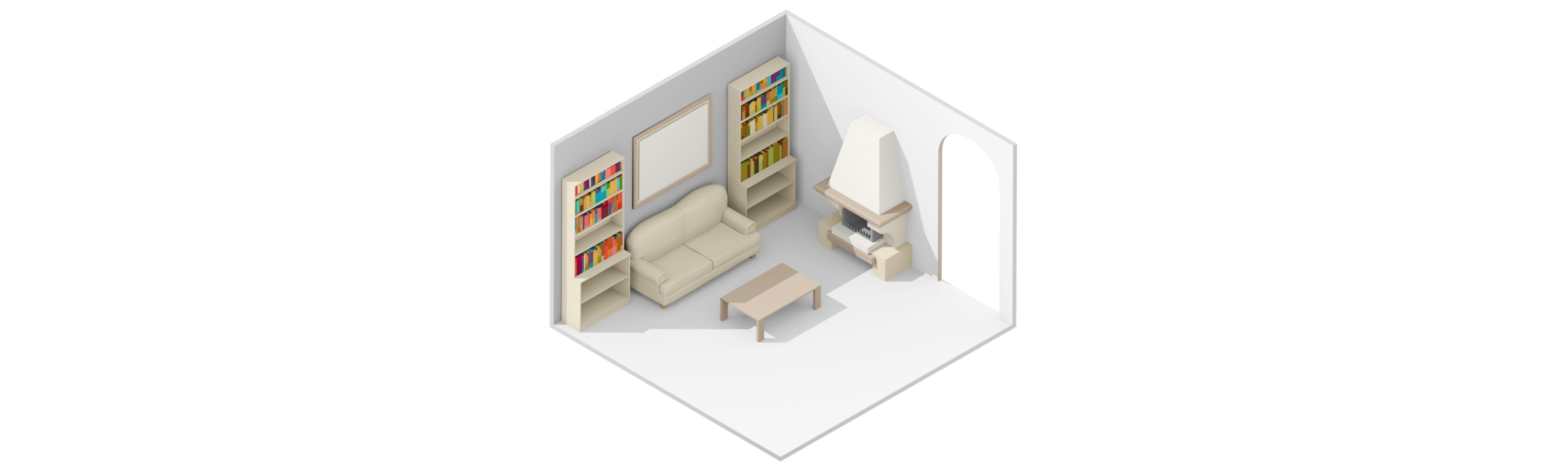3D rendering of a living room.