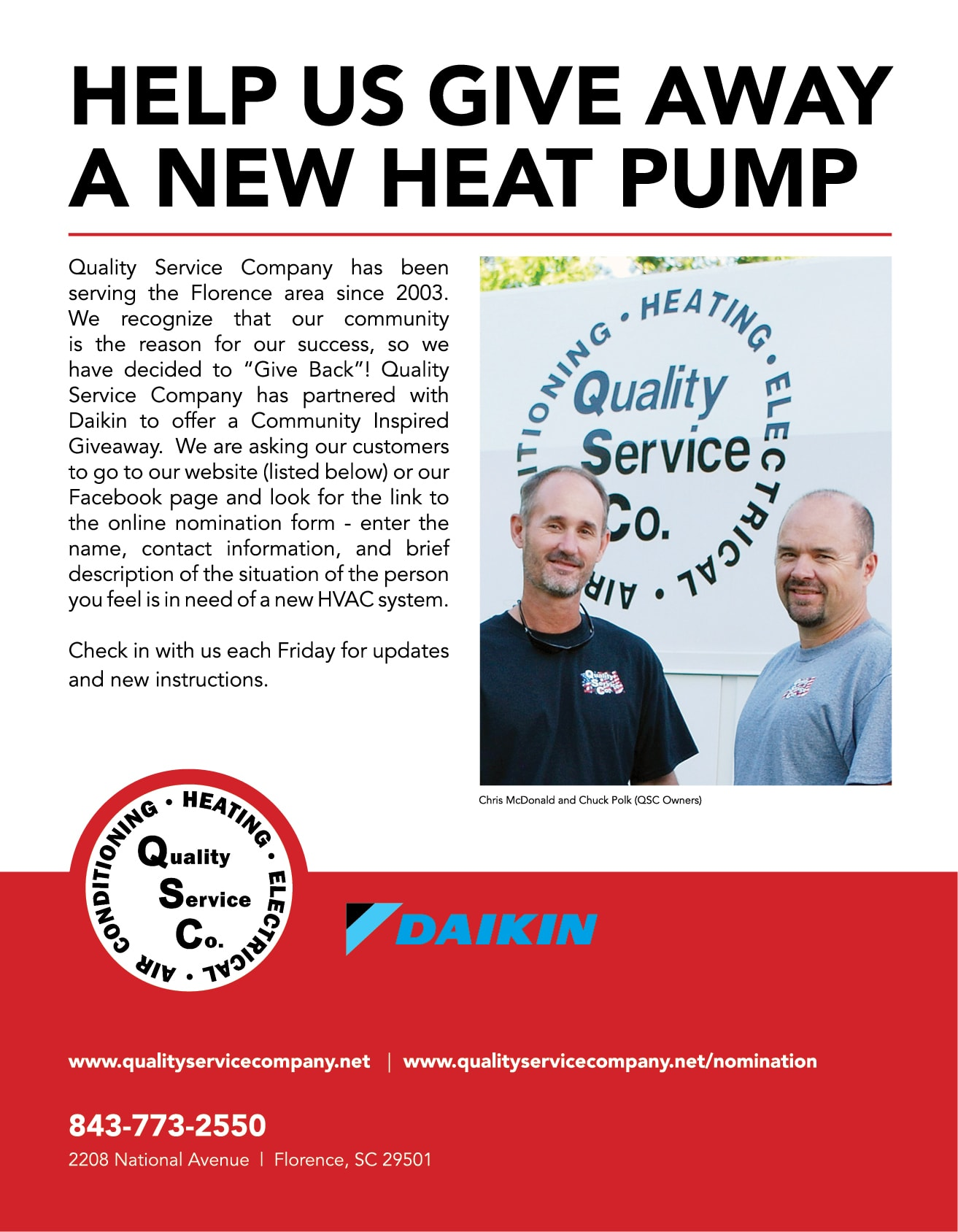 Help us give away a new heat pump.