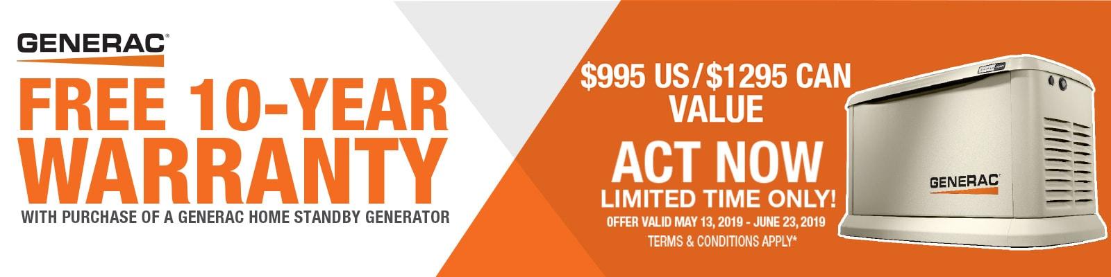 Generac free 10-year warranty offer.