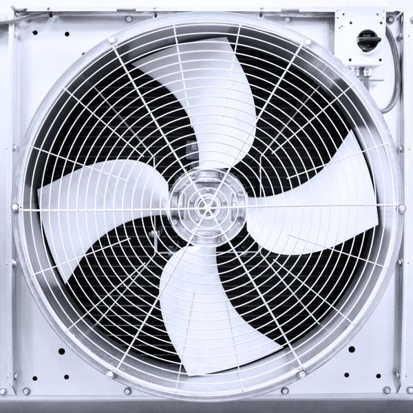 A fan on an AC system showing some of the parts you should know about.